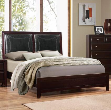 Boston Collection BS450-F Full Size Panel Bed with Faux Leather Headboard  Stitching Detail  Solid Tropical Wood and Wood Veneer Construction in
