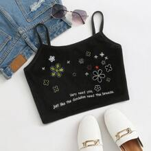 Floral and Slogan Embroidered Velvet Cami Top