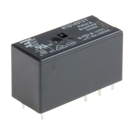 TE Connectivity , 12V dc Coil Non-Latching Relay SPDT, 16A Switching Current PCB Mount Single Pole