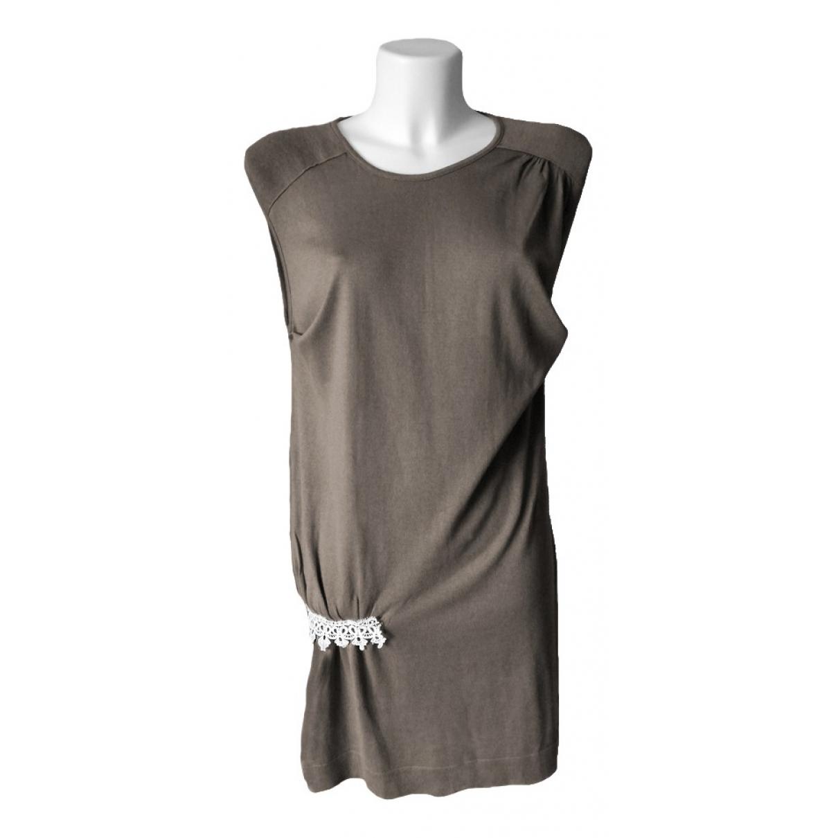 Stefanel - Robe   pour femme en coton - marron