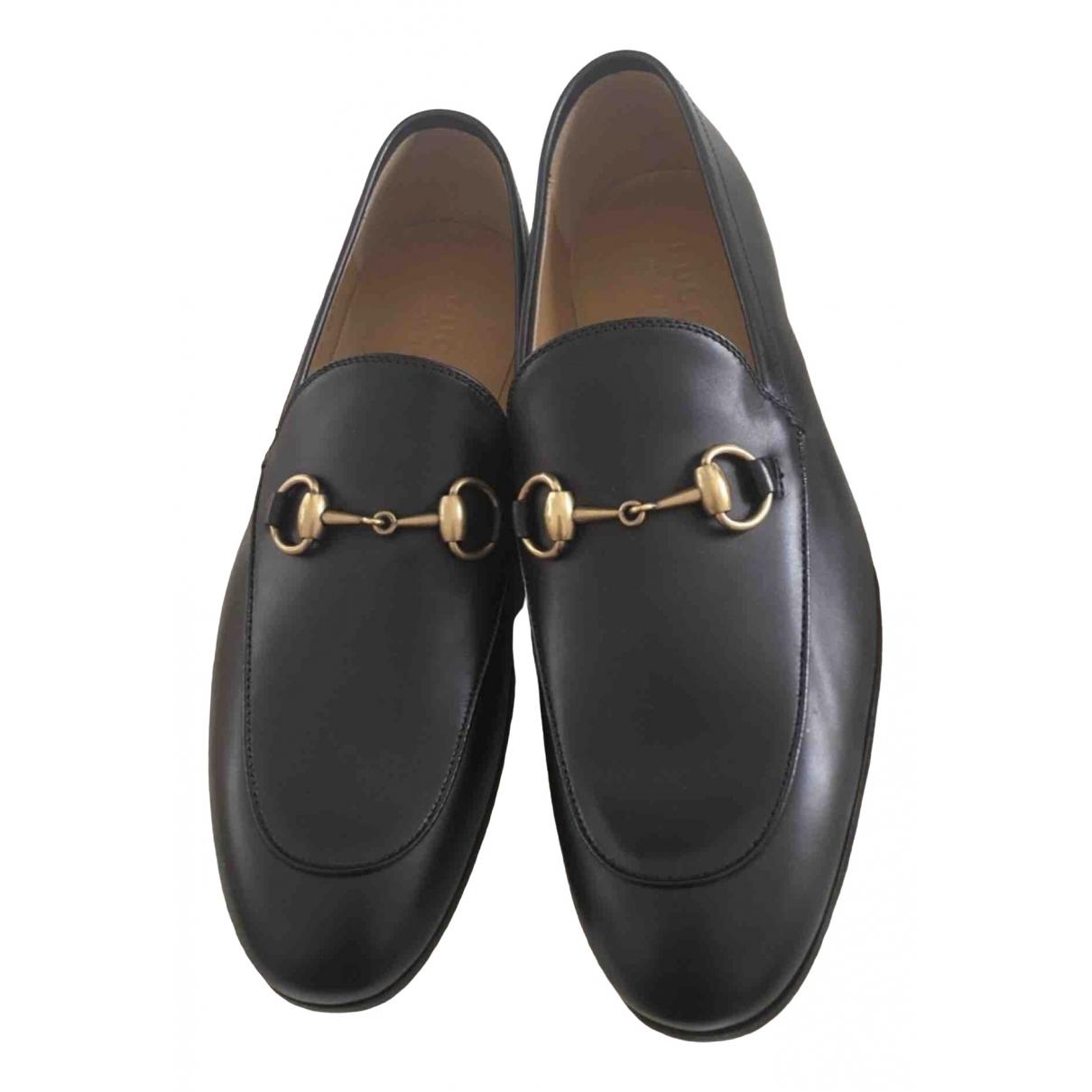 Gucci Jordaan Black Leather Flats for Men 7 US