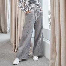 Pantalones con costura delantera de cintura con nudo