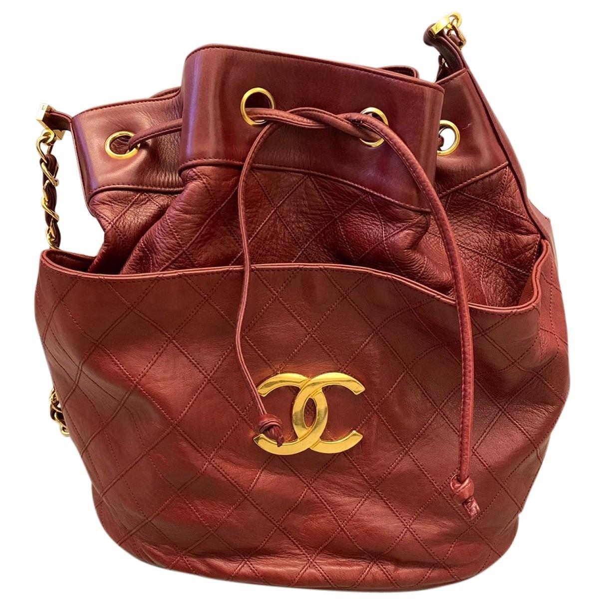 Chanel - Sac a main   pour femme en cuir - bordeaux
