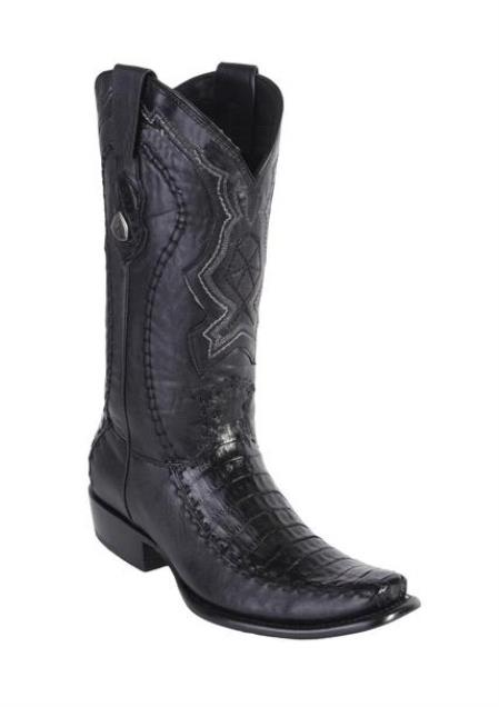 Men's Wild West Dubai Toe Style Black Caiman Belly Handcrafted Boots