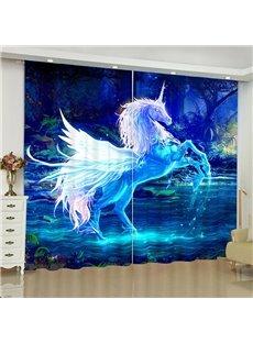 3D Dreamlike Divine Unicorn Print Blackout Decoration Curtains for Living Room Bedroom