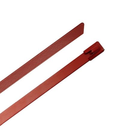 RS PRO Red 316 Stainless Steel Ball Lock Cable Tie, 100mm x 4.6 mm (100)
