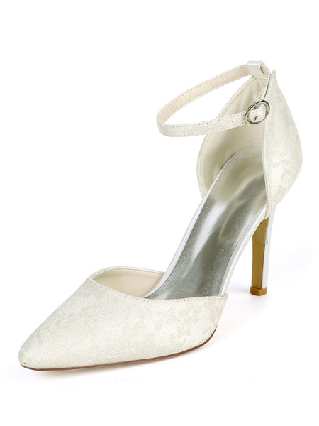 Milanoo Wedding Shoes White Lace Pointed Toe Stiletto Heel D\'orsay Bridal Shoes