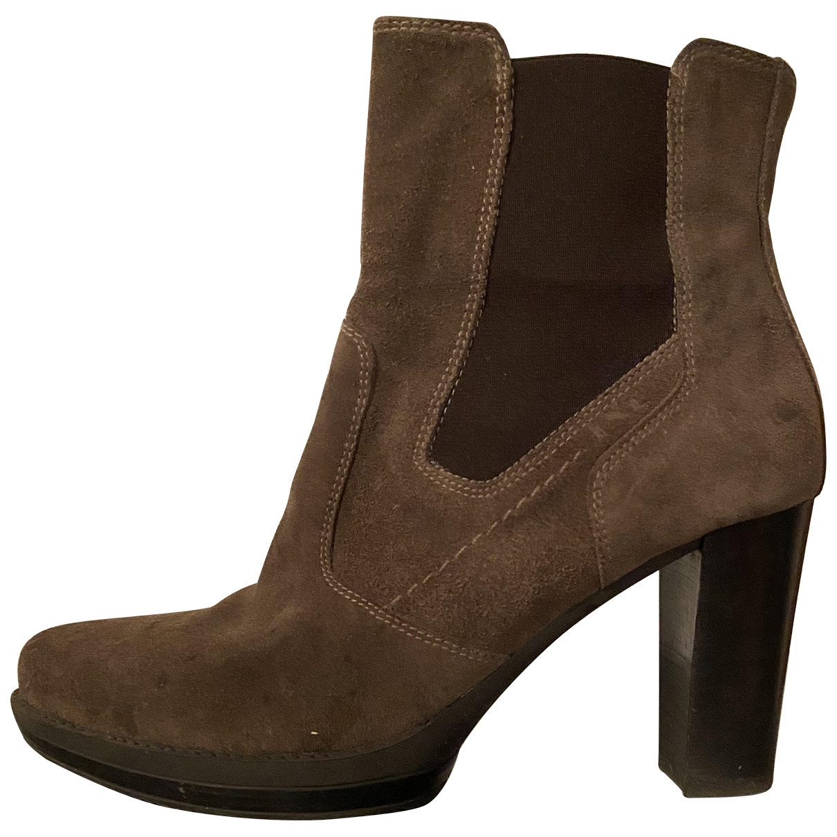 Non Signé / Unsigned \N Khaki Suede Ankle boots for Women 39 IT