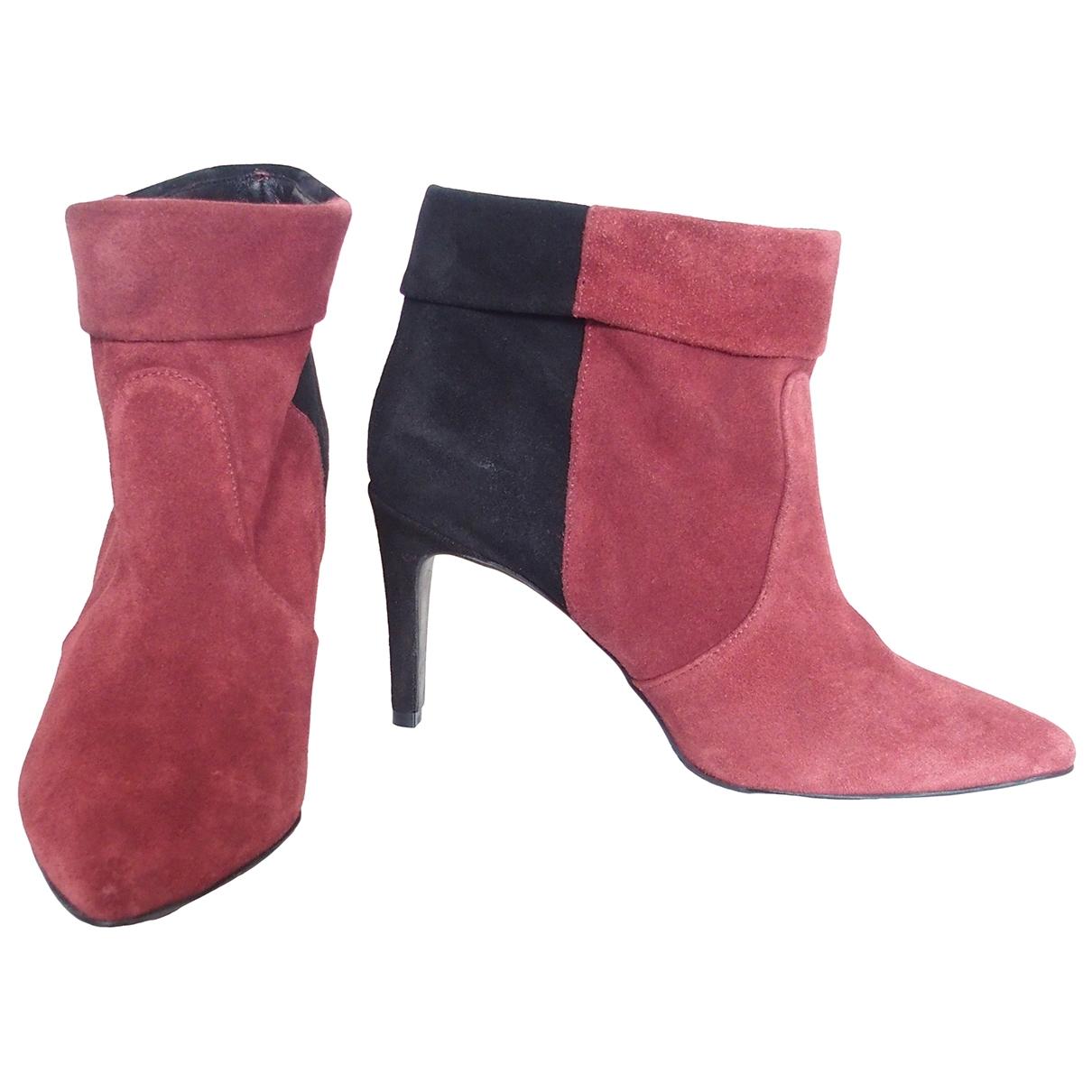Ikks - Boots   pour femme en suede - rouge