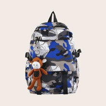 Men Camo Print Backpack With Bag Charm