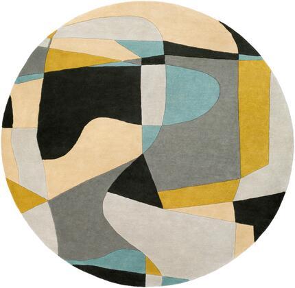 Forum FM-7194 4' Round Modern Rug in Olive  Teal  Medium Gray  Black  Khaki  Light