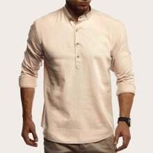 Men Solid Half Button Shirt