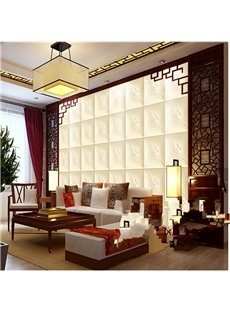 Decorative Beige Plaid with Flower Decoration Simple Style Wall Murals
