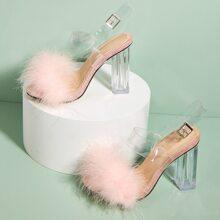 Sandalen mit Kunstpelz Dekor und transparentem Absatz