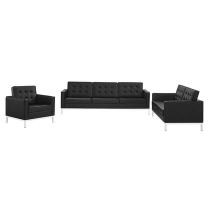 Loft Collection EEI-4107-SLV-BLK-SET 3 Piece Living Room Set with Silver Tubular Stainless Steel Legs  Dense Foam Padded Cushion  Non-Marking Foot