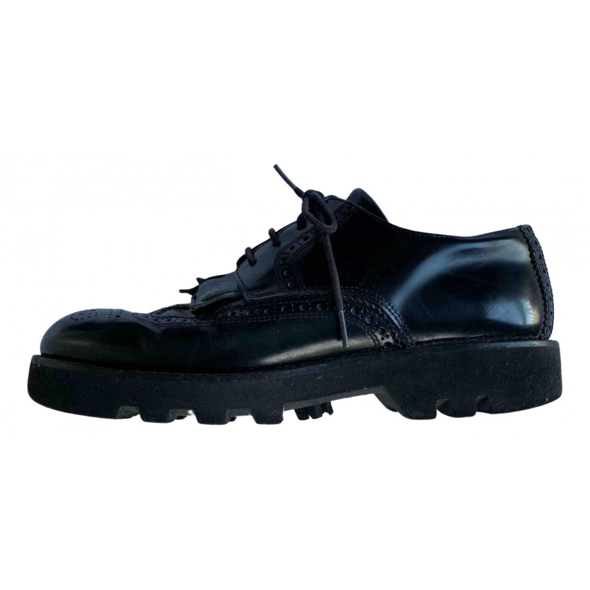 Ami \N Black Leather Lace ups for Men 42 EU