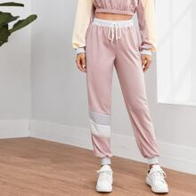Contrast Panel Drawstring Waist Sports Pants