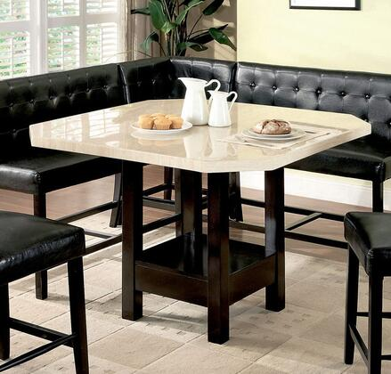 Bahamas Collection CM3427PT 48 Square Counter Height Table with Faux Marble Table Top and Bottom Base in Black and