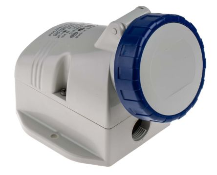RS PRO IP66, IP67 Blue Wall Mount 2P+E Industrial Power Socket, Rated At 16.0A, 230.0 V