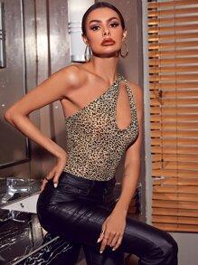 One Shoulder Cut Out Leopard Bodysuit