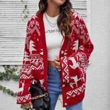 Drop Shoulder Christmas Pattern Cardigan