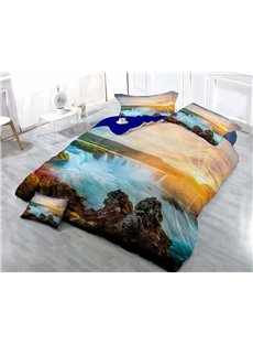 Magnificent Waterfall in the Sunset Wear-resistant Breathable High Quality 60s Cotton 4-Piece 3D Bedding Sets