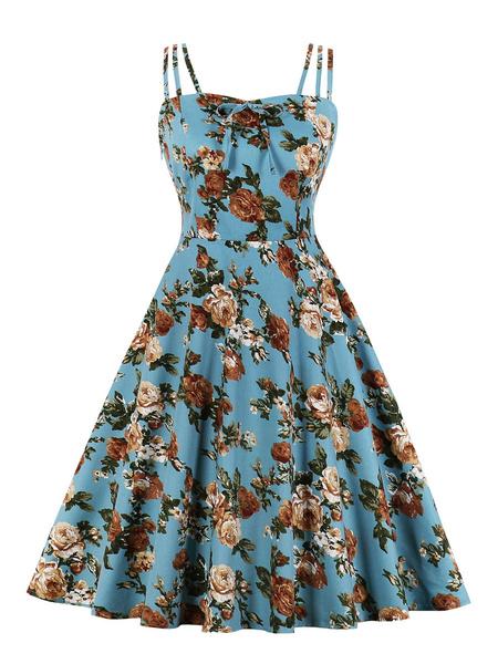 Milanoo Retro Dress 1950s Blue Green Floral Print Open Shoulder Woman\s Sleeveless Bateau Neck Swing Dress