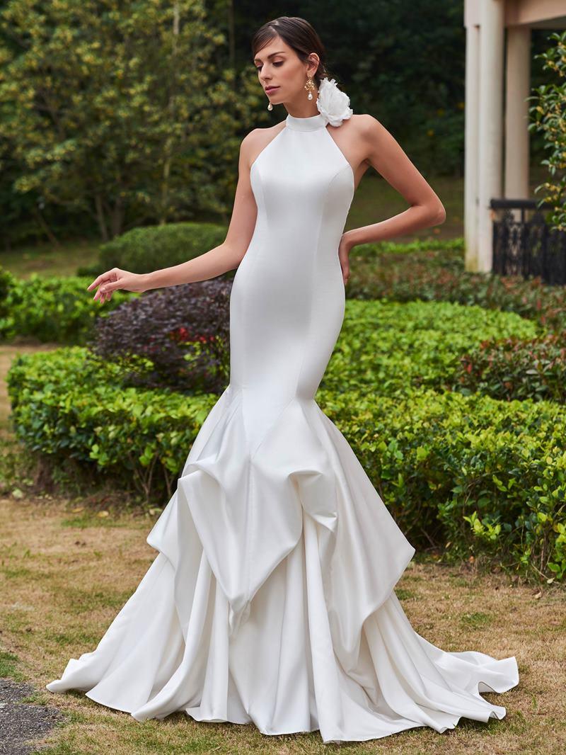 Ericdress Halter Flower Pick-Ups Mermaid Wedding Dress
