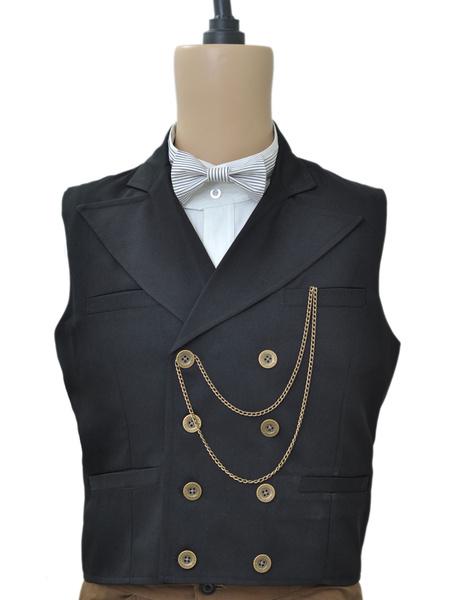 Milanoo Disfraz Halloween Chaleco negro con botonadura doble de estilo de steampunk Halloween
