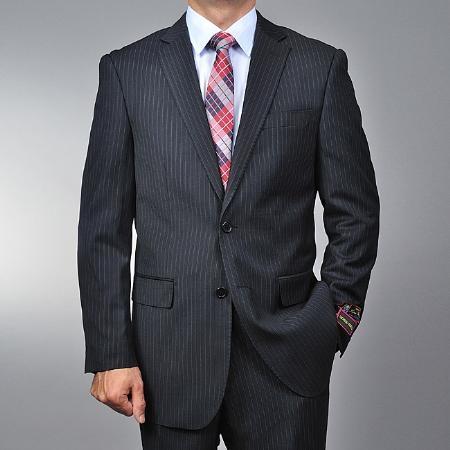 2 Button Black Pinstripe Suit Mens Cheap