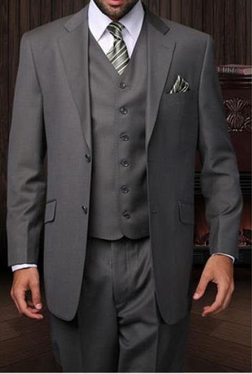 Statement Mens Oxford 3 Piece Grey 2 Button Italian Designer Suit
