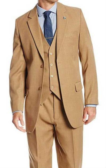 Mens Solid Tan 2 Button 3 Piece Suit Suny Stacy Adams