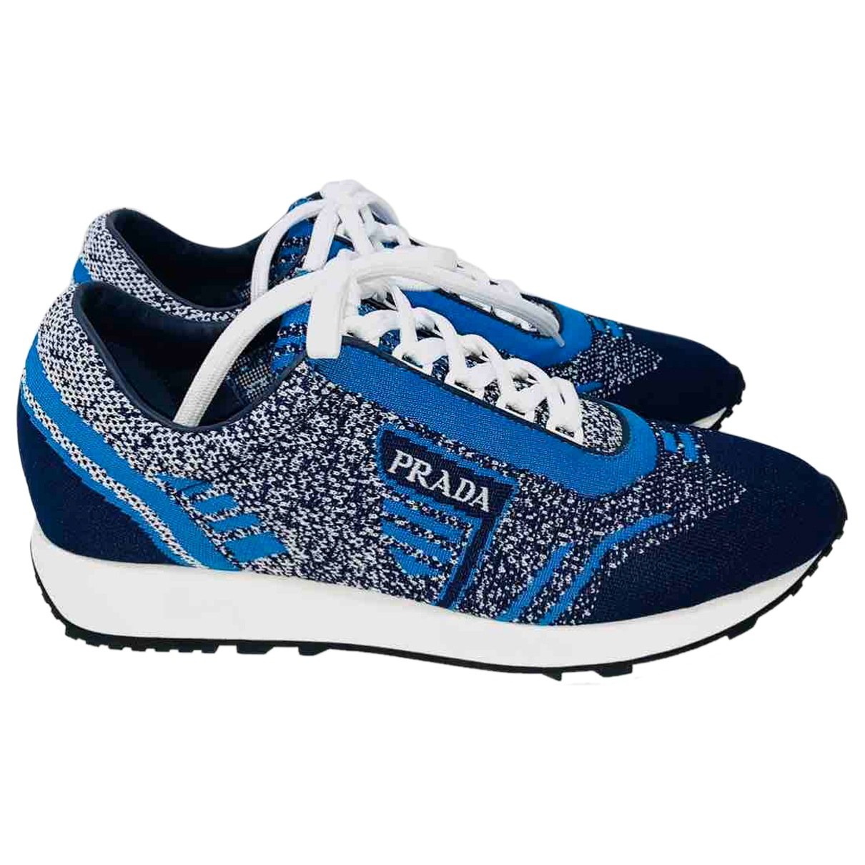 Prada - Baskets   pour femme en toile - bleu