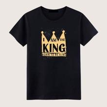 Camiseta de hombres con estampado de letra y corona imperial