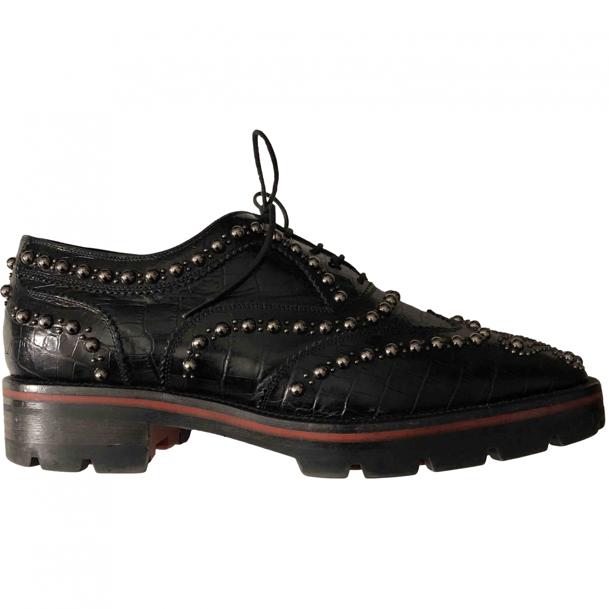 Christian Louboutin \N Black Leather Lace ups for Women 35.5 EU