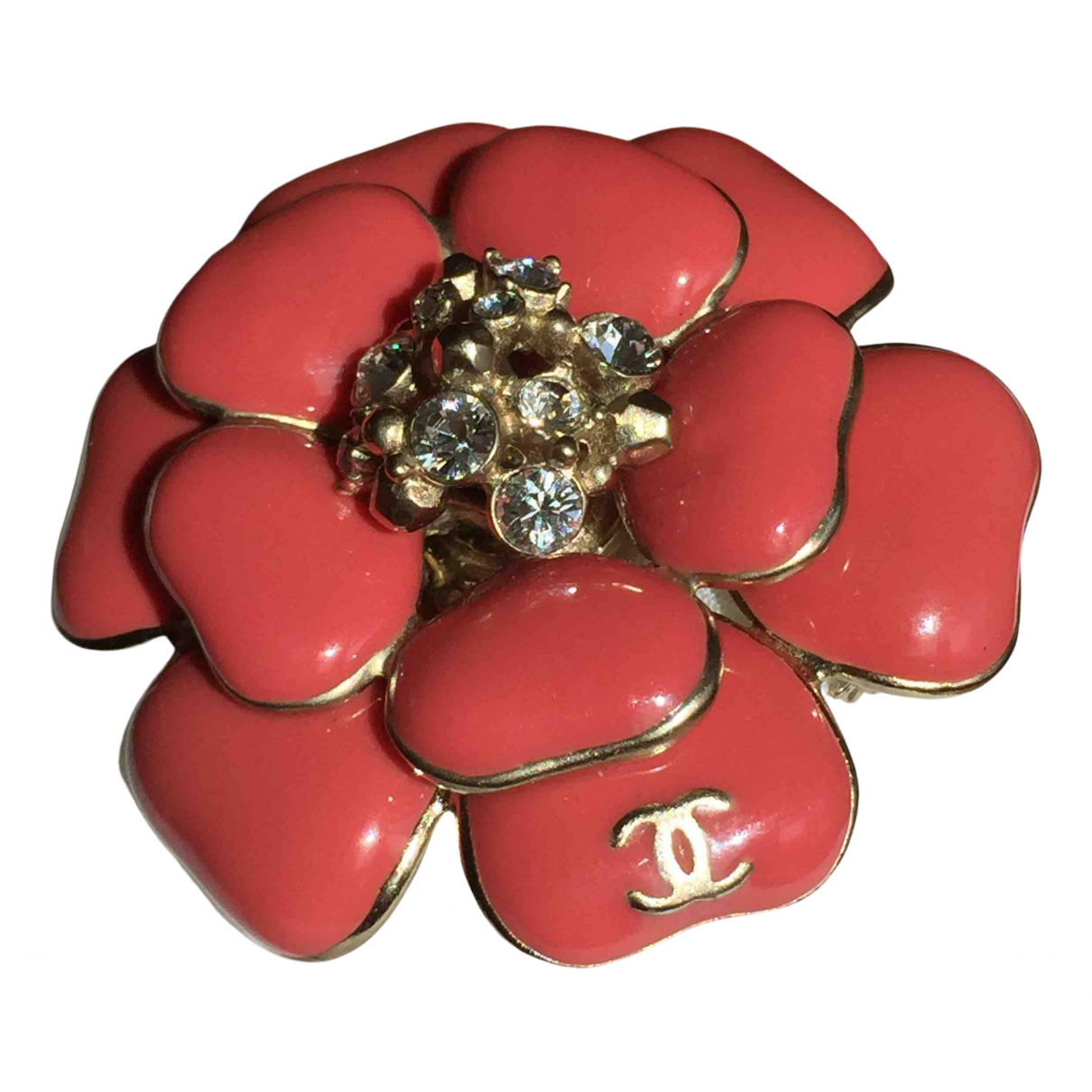 Chanel Camelia Brosche in  Rot Metall