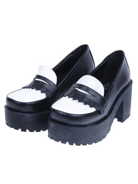 Milanoo Classic Lolita Footwear Square Toe Slip On Platform Chunky Heel Lolita Shoes