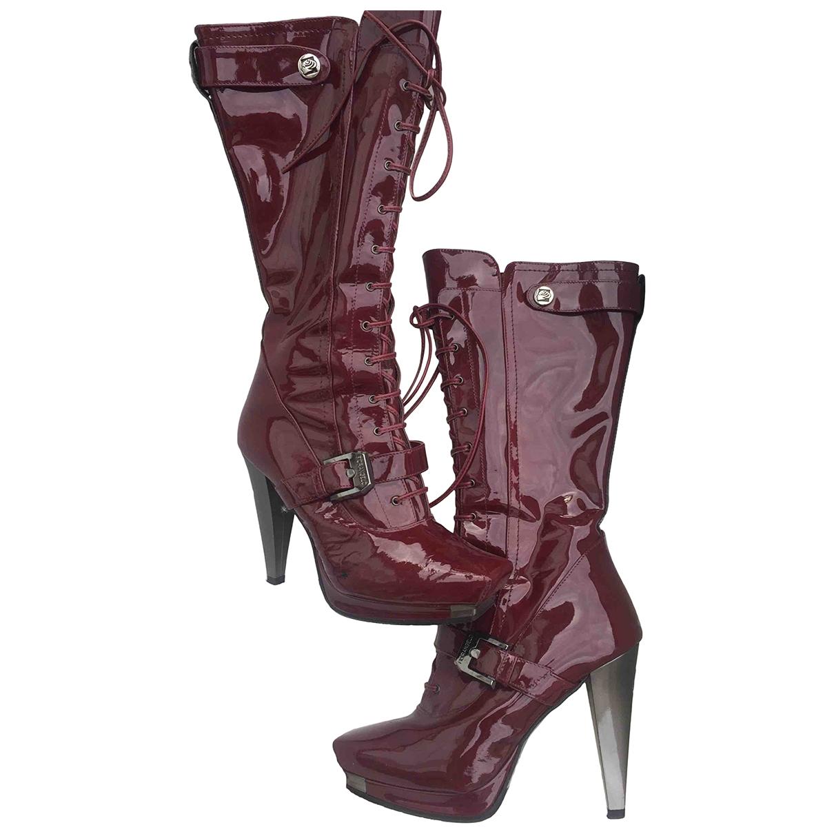 Non Signe / Unsigned \N Stiefel in  Bordeauxrot Lackleder