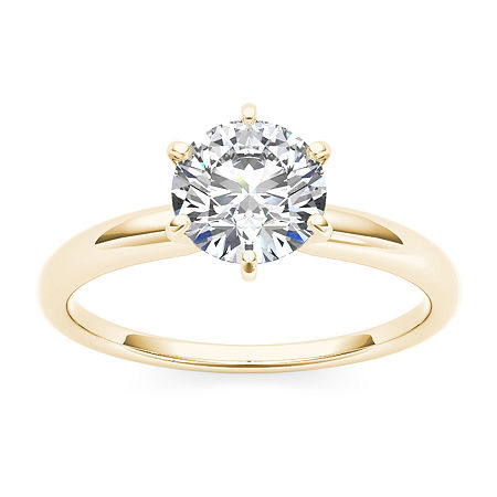 Womens 1 CT. T.W. Round White Diamond 14K Gold Solitaire Ring, 6 1/2 , No Color Family