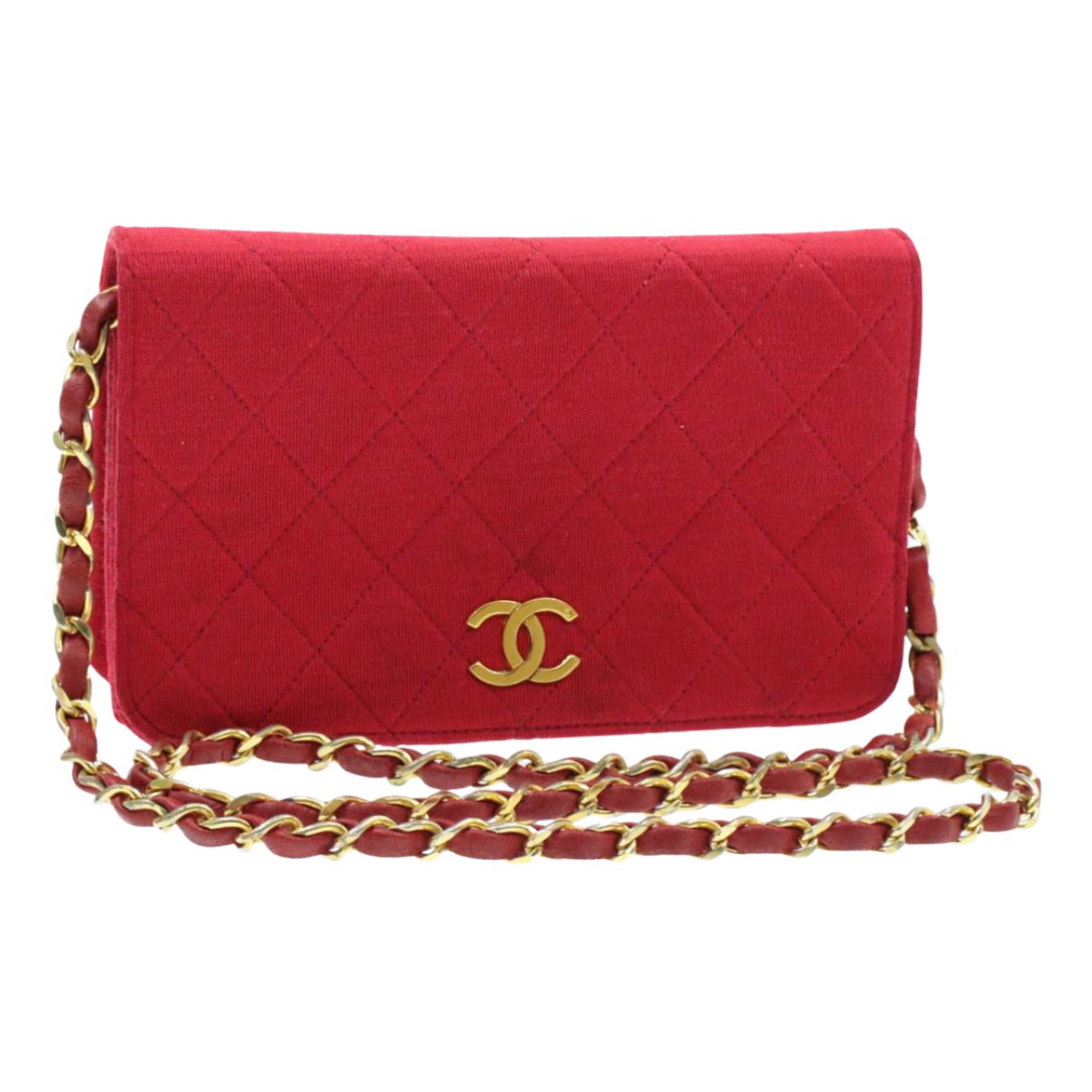 Chanel Wallet on Chain Red Cloth Clutch bag for Women N