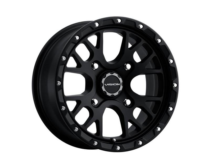 Vision Wheels 545-147110SB44 Rocker Wheel 14x7 4x1100 4+3 BKMTXX Satin Black