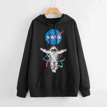 Astronaut And Letter Graphic Drawstring Hoodie
