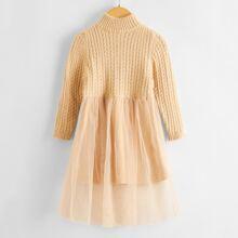 Strick Kleid mit Zopf Muster und Netzeinsatz