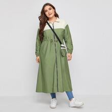 Plus Drawstring Longline Windbreaker Jacket With Bag