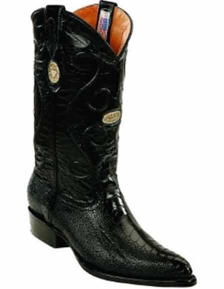 Men's Black Ostrich Leg Skin Replaceable Heel Cap J Toe Style Boots