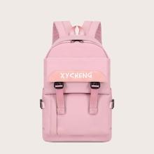 Pocket Front Letter Graphic Backpack