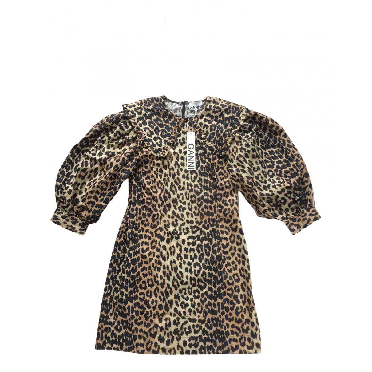 Ganni - Robe Spring Summer 2020 pour femme en coton - marron