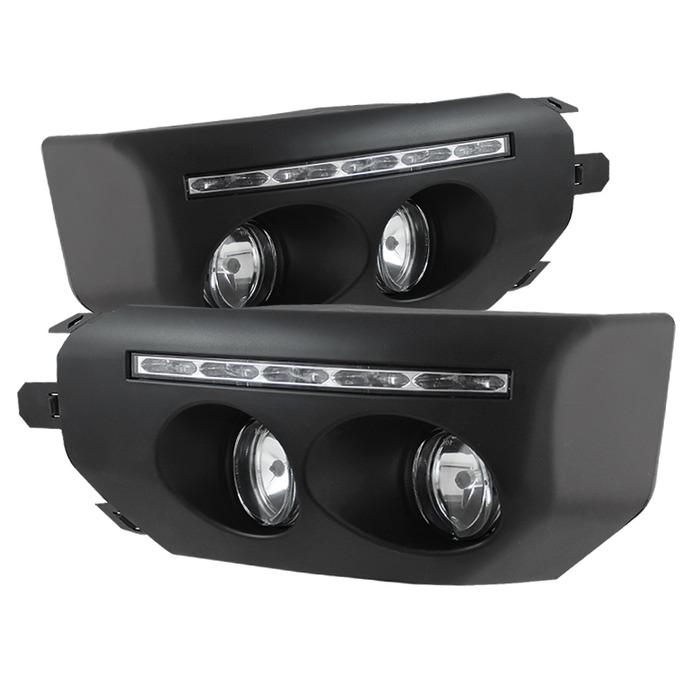 Spyder Auto FL-DRL-TFJ07-BK Black Fog Lights With LED DRL and Switch Toyota FJ Cruiser 07-14