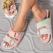 Faux Fur Open-Toe Slipper Sandals