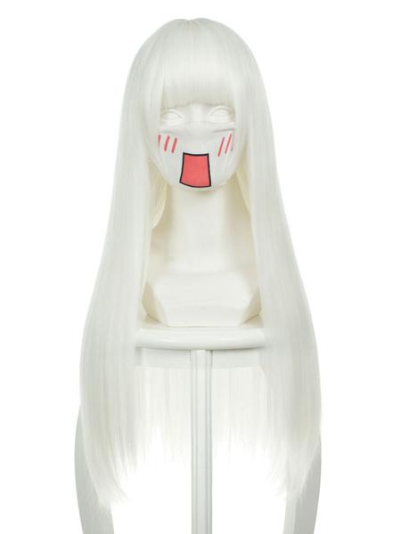 Milanoo Halloween Carnaval Peluca de disfraz de fibra resistente al calor Cosplay blanca con peluca